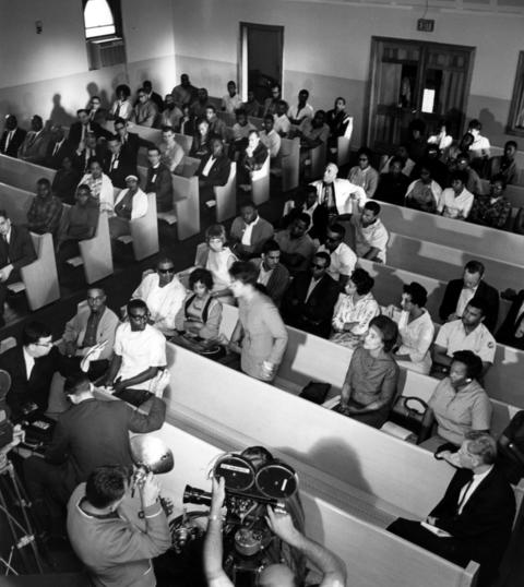 People gathered at the Second Baptist Church in nearby Harvey, Ill., to air their grievances during the rioting in Dixmoor, Ill., on Aug. 18, 1964.