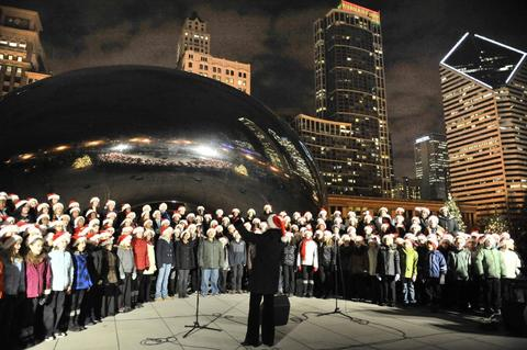 Caroling at Cloud Gate Humming along in its ninth year, Caroling at Cloud Gate has become a certifiable — and memorable — tradition with hundreds of singers gathering each week in Millennium Park for an hourlong caroling session led by notable chorale groups, followed by optional skating at Millennium Park's McCormick Tribune Ice Rink. Fridays Nov. 28-Dec. 19 from 6 p.m.-7 p.m. at Millennium Park, Chase Promenade Central, North Michigan Avenue and East Randolph Street. (cityofchicago.org). Free. Skate rental: $12.