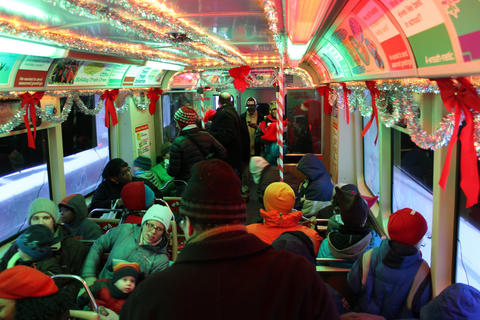 CTA Holiday Train How does Santa Claus get around a town like Chicago? Easy, he takes the CTA. Don't let your little believers miss one of the most anticipated events of the Christmas season — a chance to ride on Santa's very own CTA holiday train. And if chasing Santa around the Loop weren't enough fun, the knowledge that CTA workers donate time and money to purchase and assemble food baskets for delivery on that festive train should make you feel pretty merry, too. 3-7 p.m. weekdays; 1-8 p.m. weekends through December on multiple CTA train routes (888-968-7282, transitchicago.com/holidaytrain). $2.25; free for kids 7 and under with a fare-paying adult.