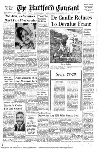 In the last 42 to seconds of the Nov. 23, 1968 meeting of the Yale Bulldogs and the Harvard Crimson at Harvard Stadium, the Boston team scored 16 points to tie the game. Both schools entered the game with identical records, 8-0 with no ties.