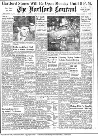 Alger Hiss, convicted of perjury in 1950 for lying to a grand jury, was released after 44 months in prison. Hiss, famously accused of espionage by Whittaker Chambers during the Cold War, continued to proclaim his innocence after his release.