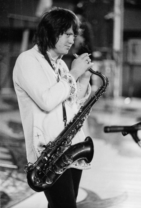 Saxophone player Bobby Keys, during the soundcheck for the first night of the Rolling Stones' 1973 European World Tour, Stadthalle, Vienna, Austria, 1st September 1973.