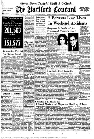 A hospital in South Africa, performed the first successful human heart transplant on Dec. 3, 1967. A 53-year-old man received the heart of a 25-year-old woman during surgery at the Cape Town hospital. He died 18 days later from double pneumonia.