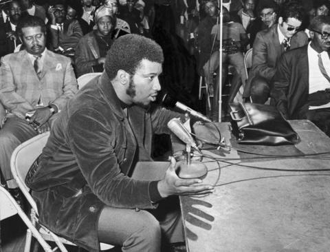 Black Panther Fred Hampton testifies at a meeting on the death of two West Side men in 1969.