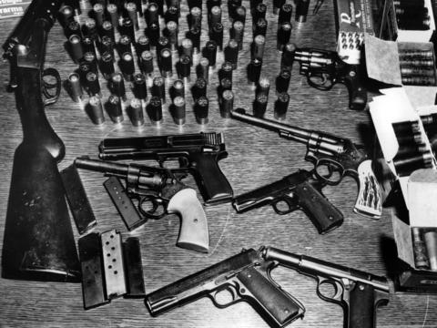 Guns and ammunition police said they confiscated from a raid of Black Panther Fred Hampton's West Side apartment Dec. 4, 1969. The photo was taken Dec. 11.