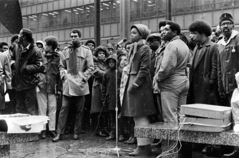 A Black Panther rally is held Dec. 31, 1969, at Civic Center Plaza (later named the Richard J. Daley Center) less than a month after the killing of Panthers Fred Hampton and Mark Clark at Hampton's apartment on the West Side.