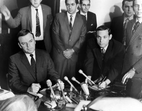 Cook County State's Attorney Edward Hanrahan, left, speaks at a news conference Dec. 11, 1969, at the Chicago Civic Center. Officials discussed the fatal Dec. 4 police raid of Black Panther Fred Hampton's West Side apartment.