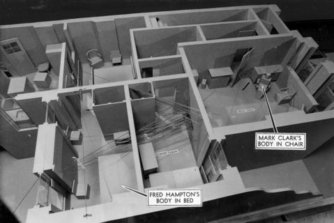 A model of Fred Hampton's apartment, shown at FBI offices in Chicago on May 15, 1970, shows the floor plan. The vantage point of the photo is toward the west, with notations where Hampton and fellow Black Panther Mark Clark were killed.