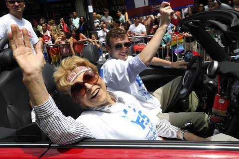State Comptroller Judy Baar Topinka rides in Chicago's Pride Parade on June 30, 2013.