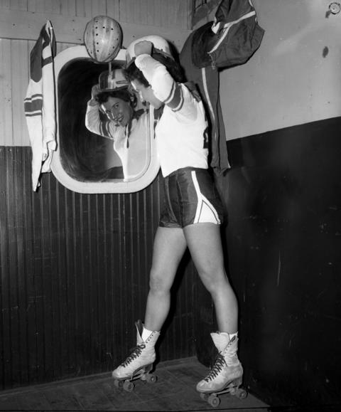 """Roller Derby participant Harriette """"Babe"""" Topel at the Coliseum in 1953."""