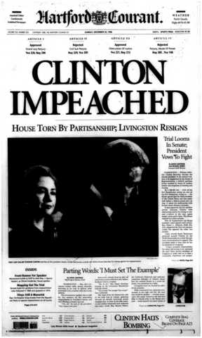 On Dec. 19, 1998, the United State House of Representative impeached President Bill Clinton on two charges - one each of perjury and obstruction of justice. The Senate acquitted Clinton of both charges on Feb. 12, 1999.