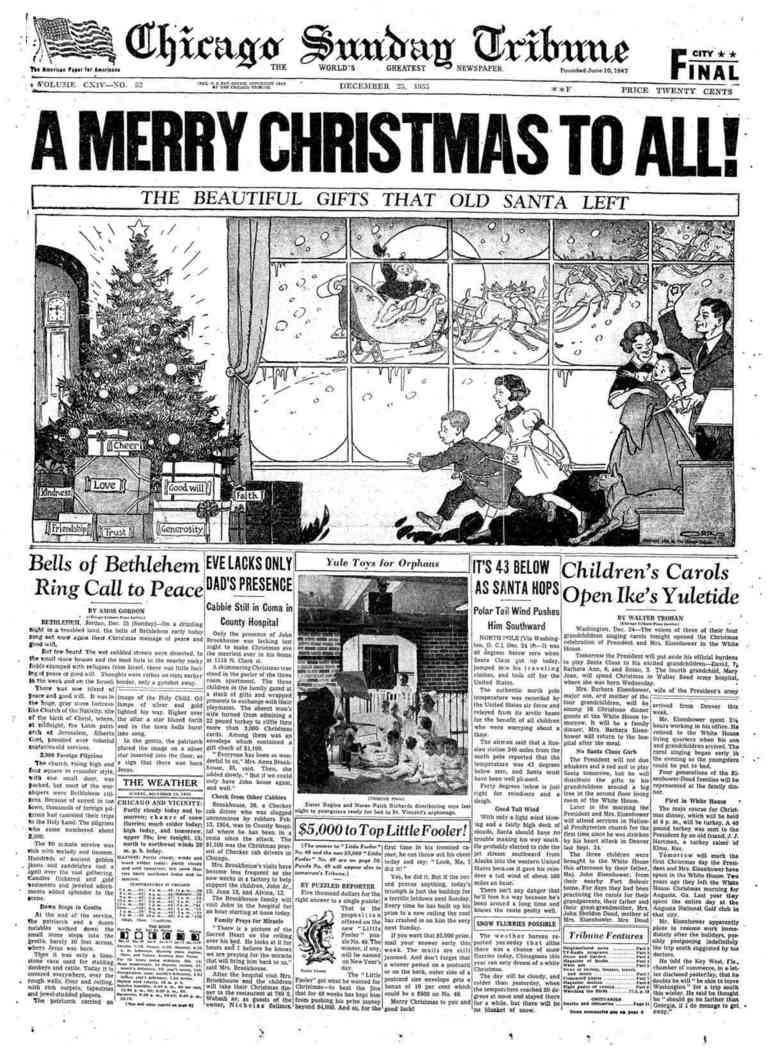 A Wonderful Cartoon Dominates The Front Page Of Chicago Tribune On Dec 25
