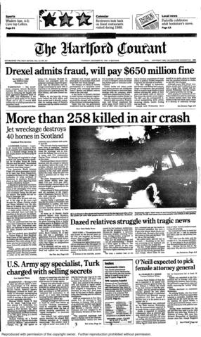 Pan Am flight 103 was downed by a terrorist bomb over Lockerbie, Scotland, on Dec. 21, 1988. All 259 passengers and crew on board were killed, including nine from Connecticut, and 11 Lockerbie residents were killed on the ground.