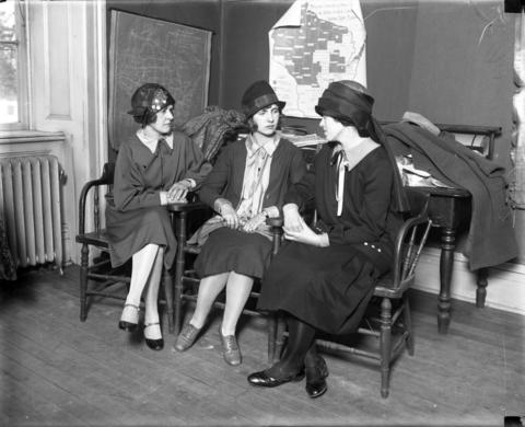Marie Anderson, from left, Christie Anderson and Alice Olson, sister of slaying victim Clara Olson, attend the inquest into Olson's murder Dec. 6, 1926. Anderson reportedly danced with Erdman Olson at an event in Seneca, Wis., the night Clara disappeared.