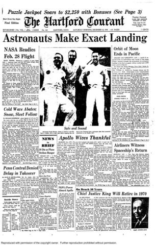 The first manned moon mission, Apollo 8, successfully landed in the Pacific Ocean on Dec. 27, 1968, three days are orbiting the moon. Astronauts Frank Borman, James Lovell, Jr., and William Anders were the first to see Earth from outer space and the dark side of the moon, and the mission sent images back home.