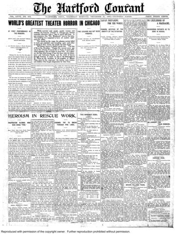 A fire at the Iroquois Theatre in Chicago, Ill., on Dec. 30, 1903, was the deadliest theater fire in United States history. At least 600 people were killed.