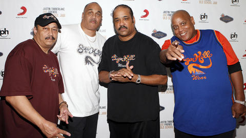 Sugarhill Gang recording artists David 'Davey D' Gunthorpe (L-R) Michael 'Wonder Mike' Wright, Joey 'Master Gee' Robinson and Henry 'Big Bank Hank' Jackson in 2011 in Las Vegas, Nevada. Jackson died Nov. 11, 2014 at the age of 57 after battling cancer.