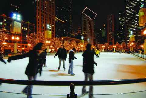 Ice skating at Millennium Park There's plenty of Christmastime activities in Millennium Park, including regular caroling at Cloud Gate (aka The Bean), but if you're looking for something festive without any specific holiday trappings, head to the ice rink and strap on some skates. Bonus for beginners: Free skating lessons happen Friday, Saturday  skate rental $12.