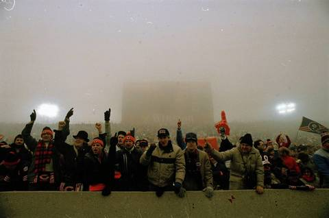 "Chicago Bears fans enjoy the game against the Philadelphia Eagles at Soldier Field on December 31, 1988. The game went on to be known as ""Fog Bowl"" due to the heavy fog and poor visibility."
