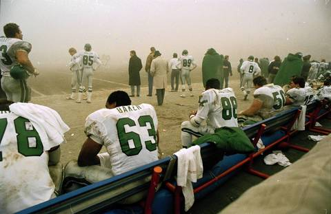 "A view from the Philadelphia Eagles' bench shows the murky visibility at what has become known as the ""Fog Bowl"" against the Chicago Bears at Soldier Field, on December 31, 1988. The Bears won, 20-12."