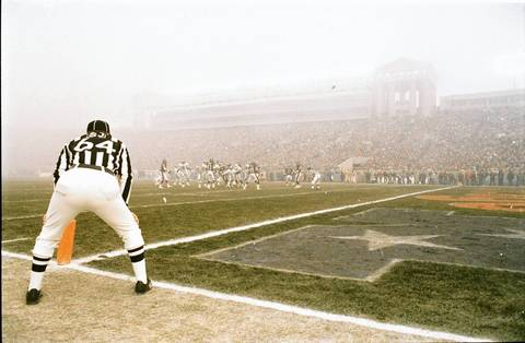 "A view from the sideline shows the murky visibility at what has to become known as the ""Fog Bowl."" The Chicago Bears beat the Philadelphia Eagles 20-12."