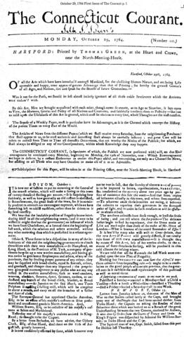 "Printer Thomas Green published a four-page issue of The Connecticut Courant - a prospectus numbered 00 - 250 years ago today. Green's mission was to offer publications that was ""useful, and entertaining, not only as a Channel for News, but assisting to all Those who may have Occasion to make use of it as an Advertiser."""