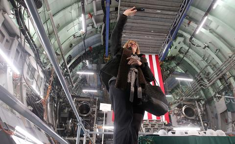 Staff Photo Of The Week: Nov 22-Nov 28, 2014 Alison Culbert takes a selfie in the bow section of the USS Washington after keel laying ceremonies Saturday at Newport News Shipbuilding.