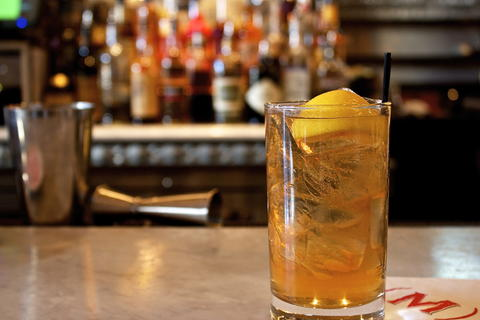 Price: $9  Ingredients: 1 oz Knob Creek Maple Bourbon, 5 oz Stella Cidre, 2 dash Angostura Bitters, 1 Lemon Wedge. Measure 1 oz of maple bourbon into a highball and fill glass completely with ice. Top with Stella Cidre, dash Angostura Bitters over the top and finish with lemon wedge.