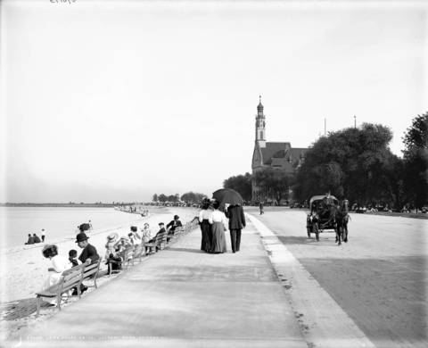 In the early 1900s Lake Shore Drive was extremely close to the waters edge of Lake Michigan, as seen here in Jackson Park, circa 1907. Chicago would end up extending itself eastward with landfill in a counterattack on Lake Michigan's persistent erosion of the shoreline.
