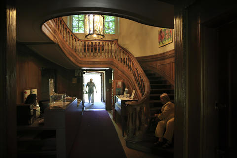 An interior view of the Harley Clarke mansion in Evanston shows the entrance lobby.