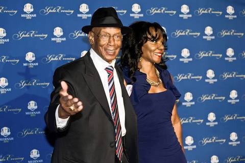 Ernie Banks and his wife, Liz, attend the 39th Ryder Cup gala Sept. 26, 2012, in Rosemont.