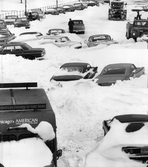 Cars remain stranded and abandoned on South Lake Shore Drive near 12th Street in Chicago on Jan. 29, 1967, after the city's worst snowstorm. More than 500 cars littered Lake Shore Drive after the storm.