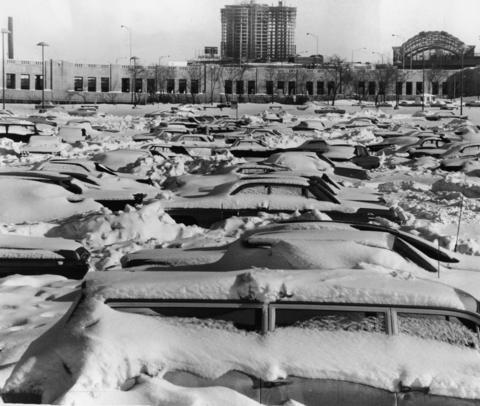 Cars remain immobilized in the Monroe Street parking lot in Grant Park on Jan. 30, 1967, two days after a record-breaking snowfall.