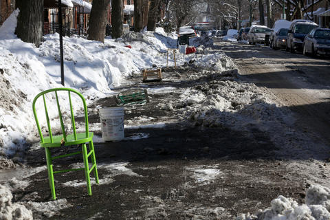 "The streets just east of South California Avenue, between West 26th and West 22nd streets, have almost every spot ""dibbed"" on Feb. 5, 2015."