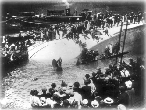 The SS Eastland on its side in the Chicago River on July 24, 1915.