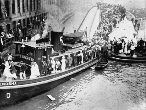 The tugboat Kenosha served as a floating bridge to help survivors reach safety after the Eastland steamship disaster on July 24, 1915. The Eastland was only in about 20 feet of water, but that was deep enough to drown 844 people.
