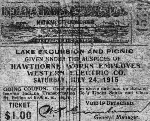 A ticket for a Western Electric Co. outing on the Eastland that turned disastrous on July 24, 1915.