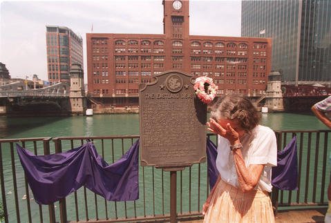 Libby Hruby, a survivor of the Eastland disaster in 1915, gets emotional at an anniversary event in 1995.
