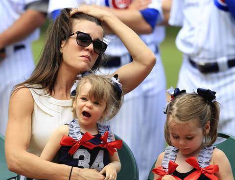 Kerry Wood's wife Sarah shows some emotion as Kerry thanks many after a 14-year career.