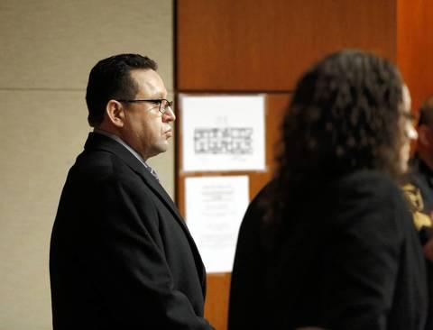 Truck driver Renato Velasquez, right, appears before Judge Robert Kleeman in court March 3, 2014.