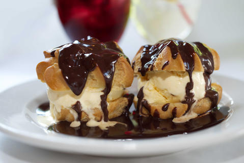 Profiteroles del Pirineo at Willoway Mansion: The $6.50 profiteroles del Pirineo come as a pair: two scoops of rich vanilla ice cream sandwiched between two light puff pastries and topped with a bittersweet chocolate sauce.1025 Aurora Ave., Naperville, 630-983-3000 - Leah Pickett