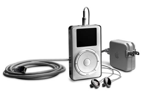 The first iPod was released in 2001. The device could hold up to 1,000 songs.