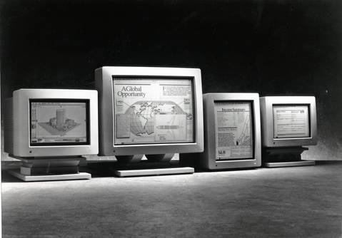 From left, the 13-inch AppleColor RGB Monitor, the 21-inch Apple Two-Page Monochrome Monitor, 15-inch Macintosh Portrait Display monitor and the 12-inch Monochrome Monitor in 1989.