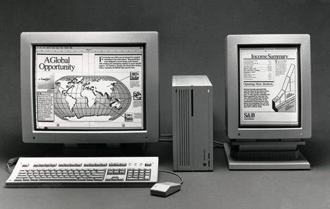 Macintosh IIcx computers in 1989 could support multiple monitors, such as the two-page monochrome monitor; and the portrait display.