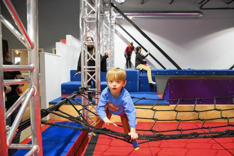 """Big Beans Ninja Obstacle Course at Little Beans Cafe Zip line! Foam pit! Rope bridge! At the new Evanston location of the family-oriented playspace/cafe Little Beans, it's not just babies and toddlers having all the fun; older kids have a dedicated space too. """"Big beans"""" (a.k.a. kids 5 to 12), get to zip and jump and climb while under the watchful eye of Little Beans staff. (Parents should be present too.) Daily at Little Beans Cafe, 430 Asbury Ave., Evanston (847-807-3731, littlebeanscafe.com/evanston). Open 8:30 a.m.-7 p.m. Mondays-Fridays, 8:30 a.m.-1 p.m. Saturdays-Sundays. $12 for daily pass, with $2-$4 deductions for siblings; $100 for a 10-visit pass."""