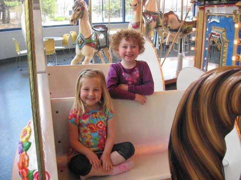Elk Grove Park District's Jumps 'n' Jiggles Kids can go round and round without making you dizzy at this indoor play space for kids 8 and under. A tunnel maze and a spiral slide are just part of the fun -- kids can also ride the ever-popular carousel. 10 a.m.-2 p.m. weekdays at Jumps 'n' Jiggles, 1000 Wellington Ave., Elk Grove Village (847-437-9494, elkgroveparks.org). $4 (free for babies 12 months old and younger).