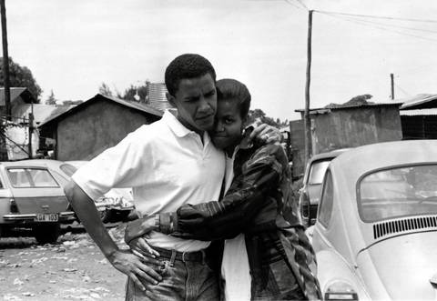 Barack Obama, with then-fiance Michelle, at Kibera, Africa's largest slum, in Nairobi, Kenya. It was their first trip to Africa together.