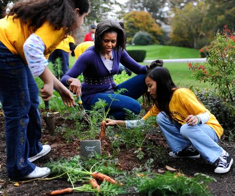 Michelle Obama hosts a fall harvest of the White House vegetable garden with help of students from Washington's Bancroft and Kimball Elementary schools.
