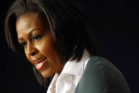 Michelle Obama speaks on health care legislation at the White House complex.