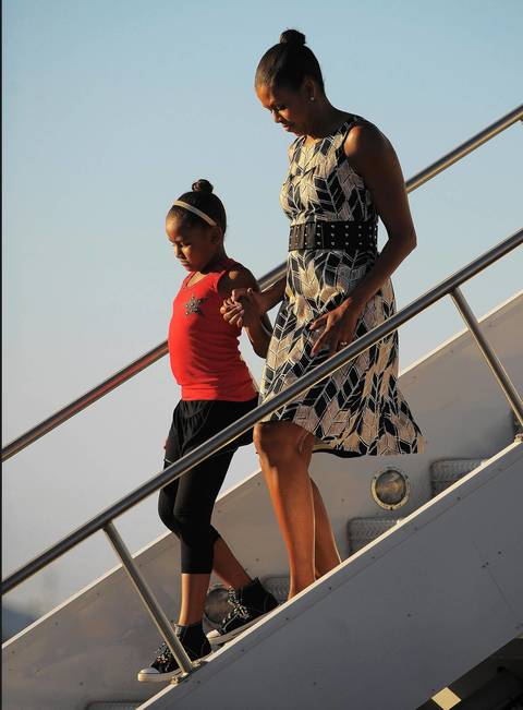 Michelle Obama and daughter Sasha step off Air Force One at Sky Harbor Airport in Phoenix.